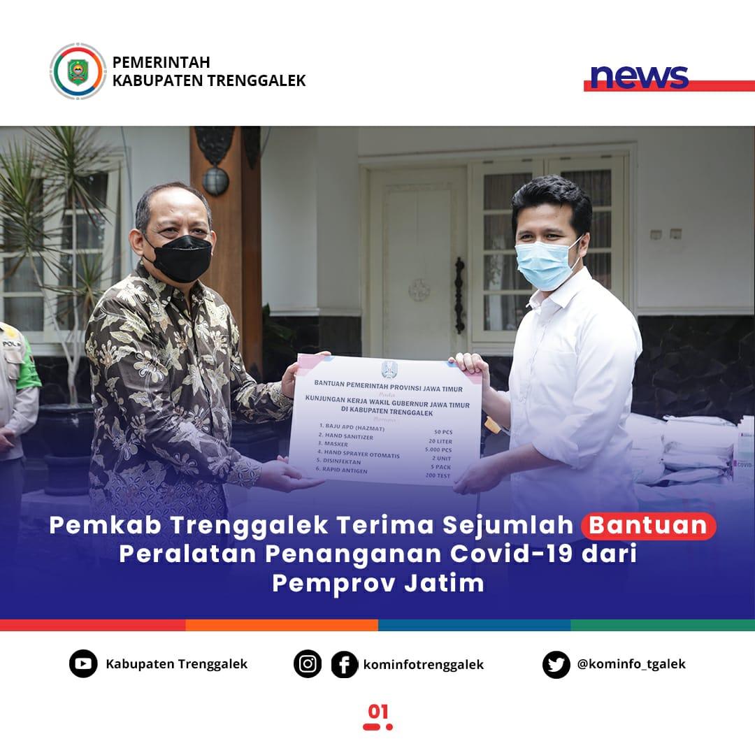 Pemkab Trenggalek Terima Sejumlah Bantuan Peralatan Penanganan Covid-19 dari Pemprov Jawa Timur