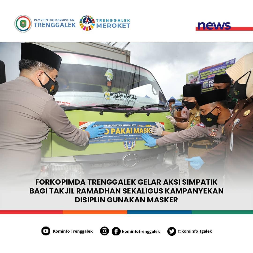 Forkopinda Trenggalek Gelar Aksi Simpatik Bagi Takjil Ramadhan Sekaligus Kampanyekan Disiplin Gunakan Masker