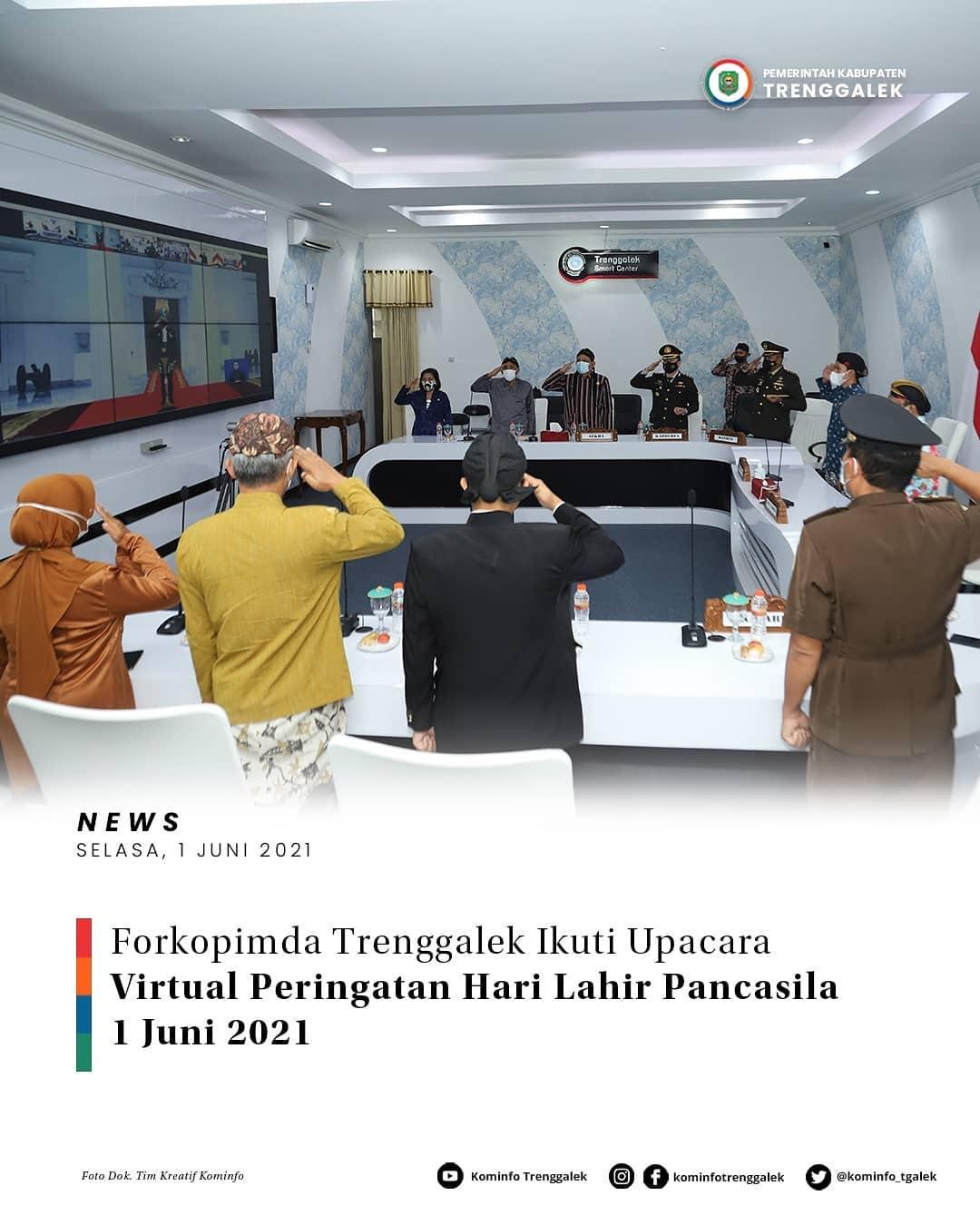 Forkopinda Trenggalek Ikuti Upacara Virtual Peringatan Hari Lahir Pancasila 1 Juni 2021