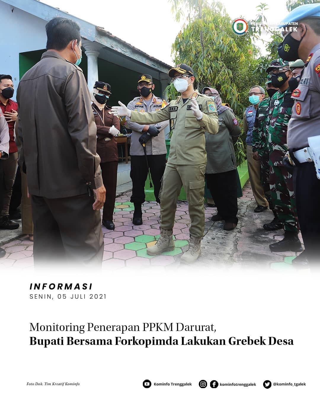 Monitoring Penerapan PPKM Darurat, Bupati Bersama Forkopimda Lakukan Grebek Desa
