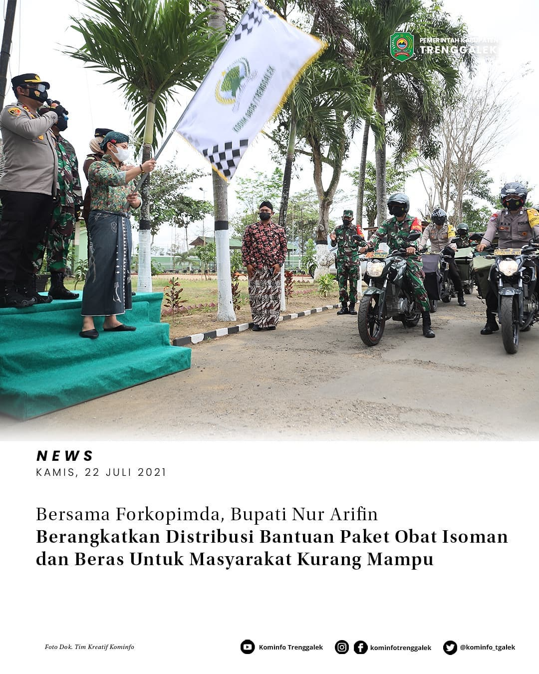 Bersama Forkopimda, Bupati Nur Arifin Berangkatkan Distribusi Bantuan Paket Obat Isoman dan Beras Untuk Masyarakat Kurang Mampu