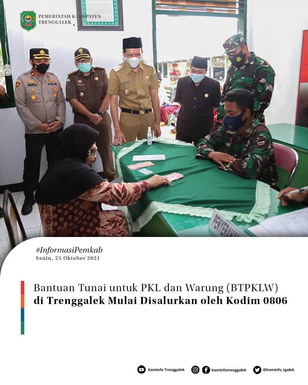 Bantuan Tunai Untuk PKL dan Warung (BTPKLW ) di Trenggalek Mulai di Trenggalek Oleh Kodim 0806